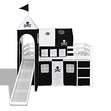 Lit mezzanine à thème Pirate pour enfant Sommier en bois avec filet ...