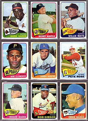 1965 Topps Baseball (9) Card Reprint Lot #1 Hank Aaron, Mickey Mantle, Willie Mays, Roberto Clemente, Sandy Koufax, Pete Rose, Roger Maris,Bob Gibson, Ernie Banks