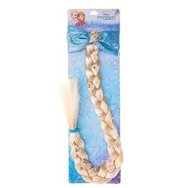 Light Blonde Imitation Plait Blue Hair Elastic Sparkle Ribbon Bow Frozen Elsa