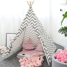 Lebze Kids Teepee Tent for Boys & Girls - Grey Chevron Canvas Childrens Play Tent Wigwam for Indoor Outdoor Decor Playhouse