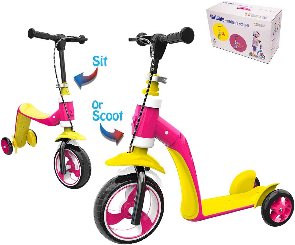 Verkstar Kick Scooter for Kids Toddlers Girls Boys, 2 in 1 Kids Scooter with Handbrake, Adjustable Handle, Extra-Wide Deck, The Latest Outdoor Toys for Kids Activities Yellow Pink