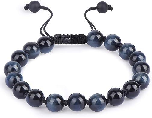 Eye of Tiger and blue jade natural stones bracelet