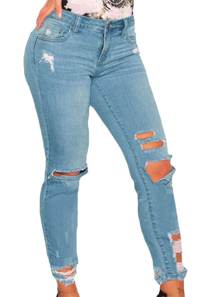VIGVOG Women's Casual Ripped Distressed Ankle Length Skinny Denim Jeans (L, Light Blue)