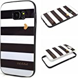S7 Edge Case,Galaxy S7 Edge Case,XYX [Black and white stripes] 2 in 1 Hybrid Transparent Pattern PC Hard Back Cover Plastic Case Cover for Samsung Galaxy S7 Edge