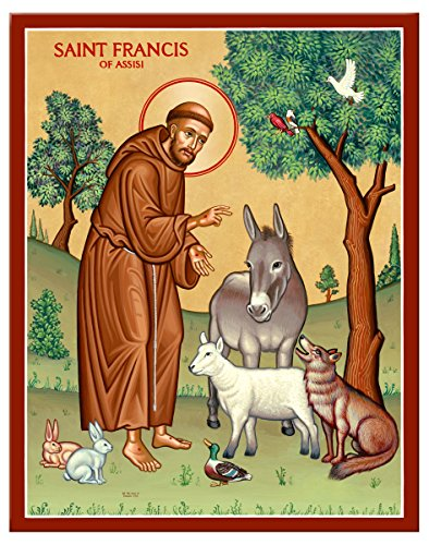 Monastery Icons Saint Francis and The Animals Mounted Plaque Icon Reproduction 7.8