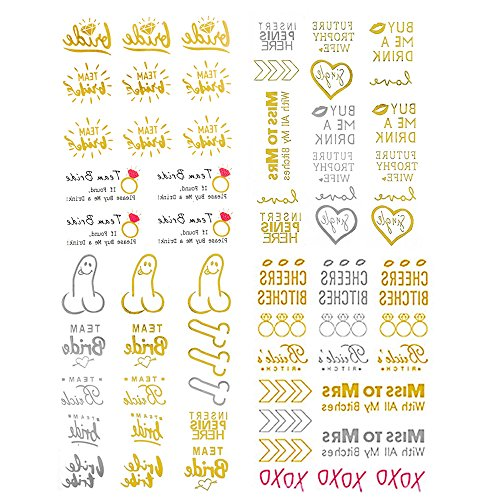 4 Sheets Bride Tribe Bridesmaids boho body Tattoo metallic Stickers for Gold Bronzing Waterproof Wedding Temporary flash Bachelor Party Women Body Wrist Decorations Accessories hot sale