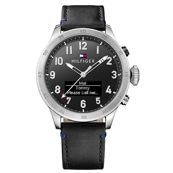 Tommy Hilfiger 1791299 Smart Watch Reloj Reloj de hombre piel pulsera de acero inoxidable 5 Bar Analog Negro: Amazon.es: Relojes