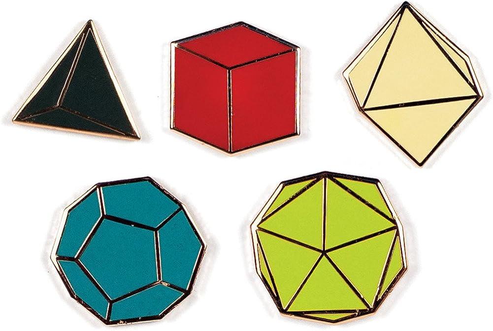 The Unemployed Philosophers Guild Platonic Solids Enamel Pin Set - 5 Unique Colored Metal Lapel Pins