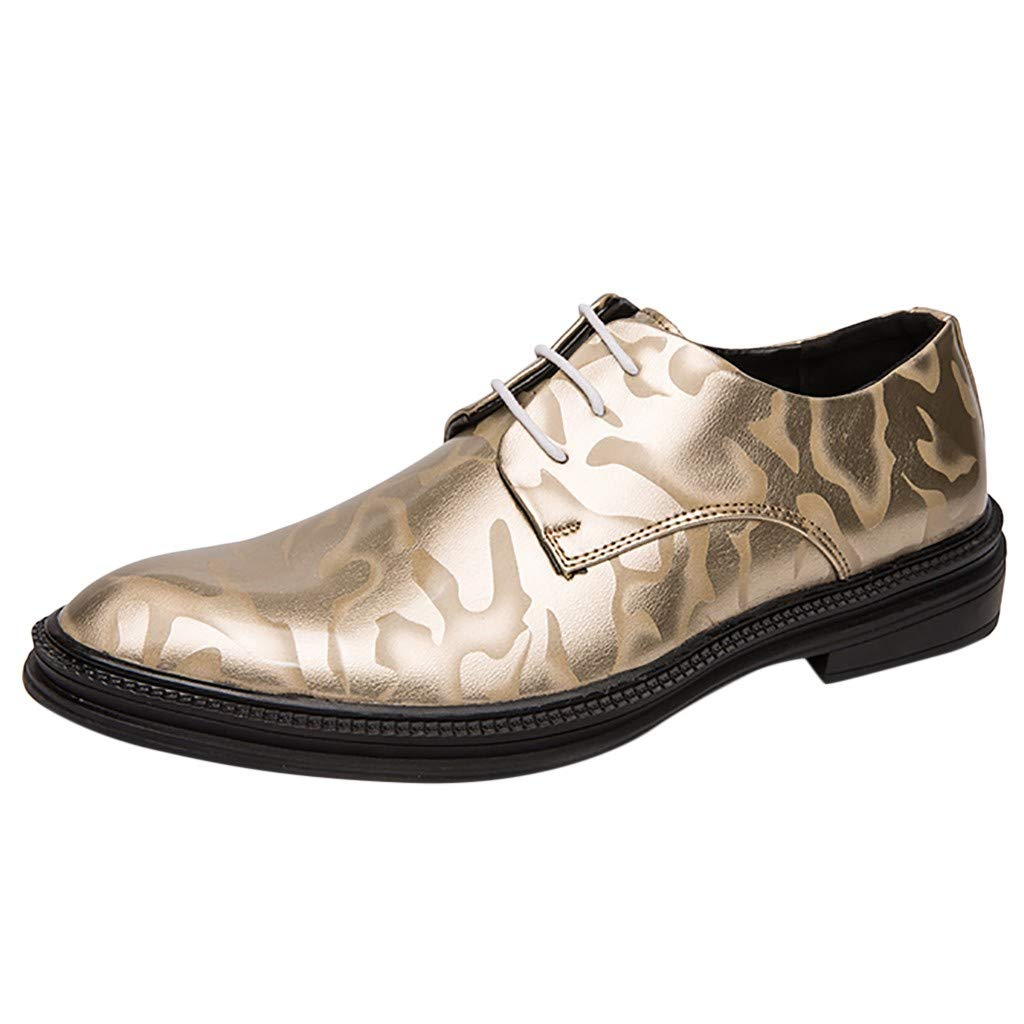 Baiggooswt Men Pointed Toe Patent Leather Business Oxford Shoes Wedding Shoe Bright Lace Up Flat Casual Party Shoes Gold