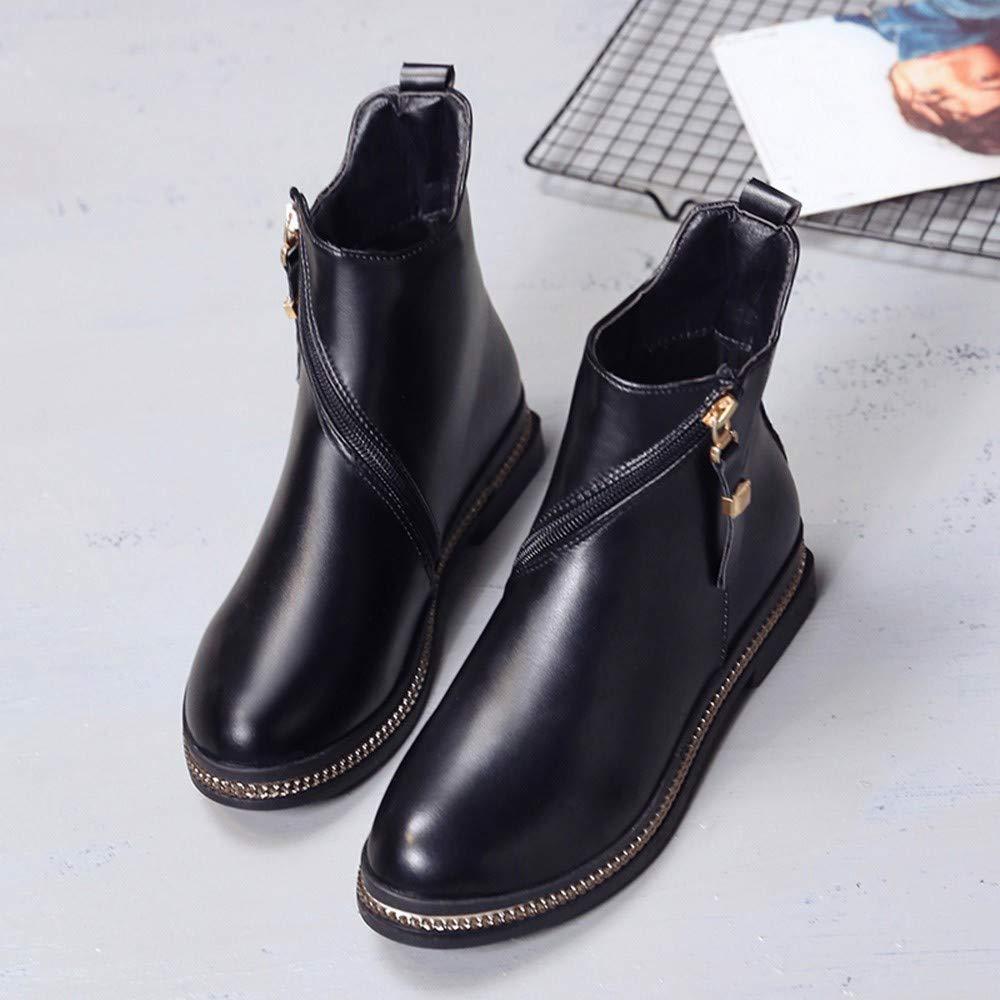 64b77aa2ffe110 LHWY Damen Stiefel mit Absatz Frauen Mode Rutschfeste Flache Stiefeletten  Lässig Leder Mitte Rotierenden Zipper Boots ...