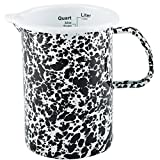 Enamelware Measuring Pitcher - Black on White Marble