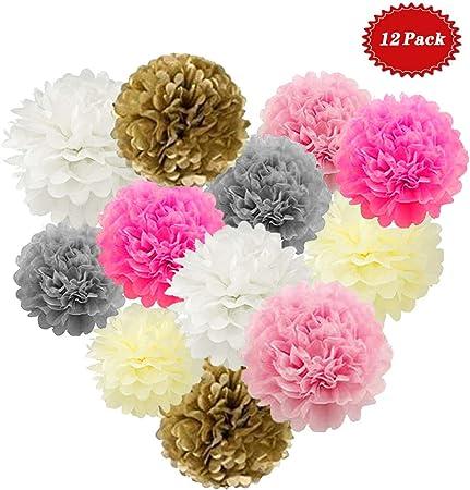 Pacco da 10-6 Colori Appendere Pom-Poms Fiore Pom Kit Naomo Pompon di Carta Velina per Decorazioni di Matrimoni e Feste di Compleanno