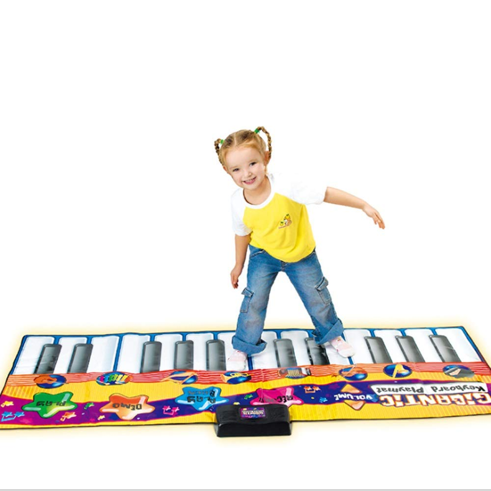 Play Keyboard Mat Step And Play Musical Keyboard Playmat 71 Inches 24 Keys Foldable Floor Keyboard Piano Dancing Activity Mat With Record Playback Demo Play Adjustable Vol Instrument Toys For Toddlers