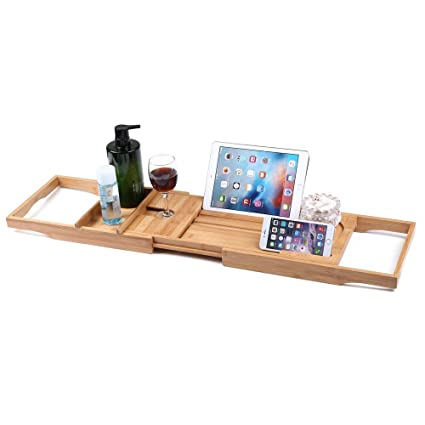 Amazon.com: Honana BX-816 Expandable Bamboo Bath Caddy Wine Glass ...