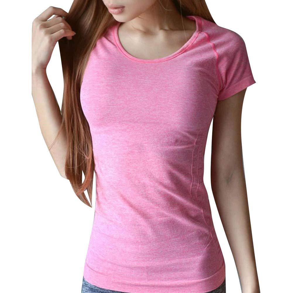 Smilikee Frauen-Sport-T-Shirt mit Ärmeln Schnelltrocknendes Tanktop Frauen-Laufsport-T-Shirt Leichtes und atmungsaktives Laufbekleidung