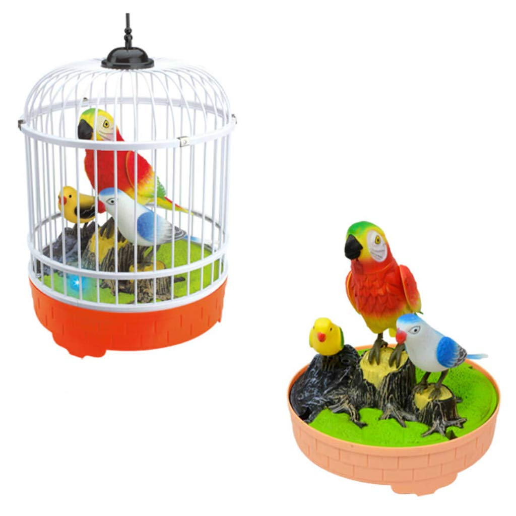 Home Garden Decoration Three Birds Kids Voice Control Electronic Pet Toy White Cage MagiDeal Simulation Singing Bird in Cage