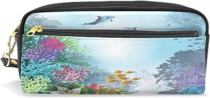Estuche para lápices, diseño de delfines y tortugas bajo el agua, impermeable, 2 compartimentos, el mejor regalo para niños y niñas: Amazon.es: Oficina y papelería