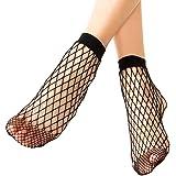 Mangotree 2 Paar Damen Fischnetz Söckchen Frauen Reizvolle Schwarz Netzstrümpfe Kurze Knöchel Knie Socken