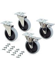 Emuca 2030721 Lote de 4 ruedas pivotantes para mueble Ø100mm con placa de montaje y rodamiento