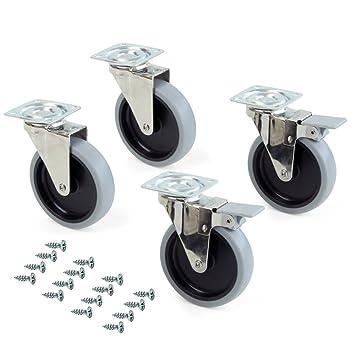 Emuca 2030721 Lote de 4 ruedas pivotantes para mueble Ø100mm con placa de montaje y rodamiento de bolas: Amazon.es: Bricolaje y herramientas