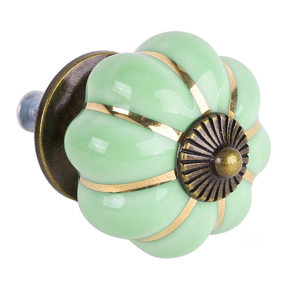 Furniture Handles - TOOGOO(R)8 Design Pumpkin Porcelain Knobs Furniture Handles Furniture knob Furniture knob luxury green