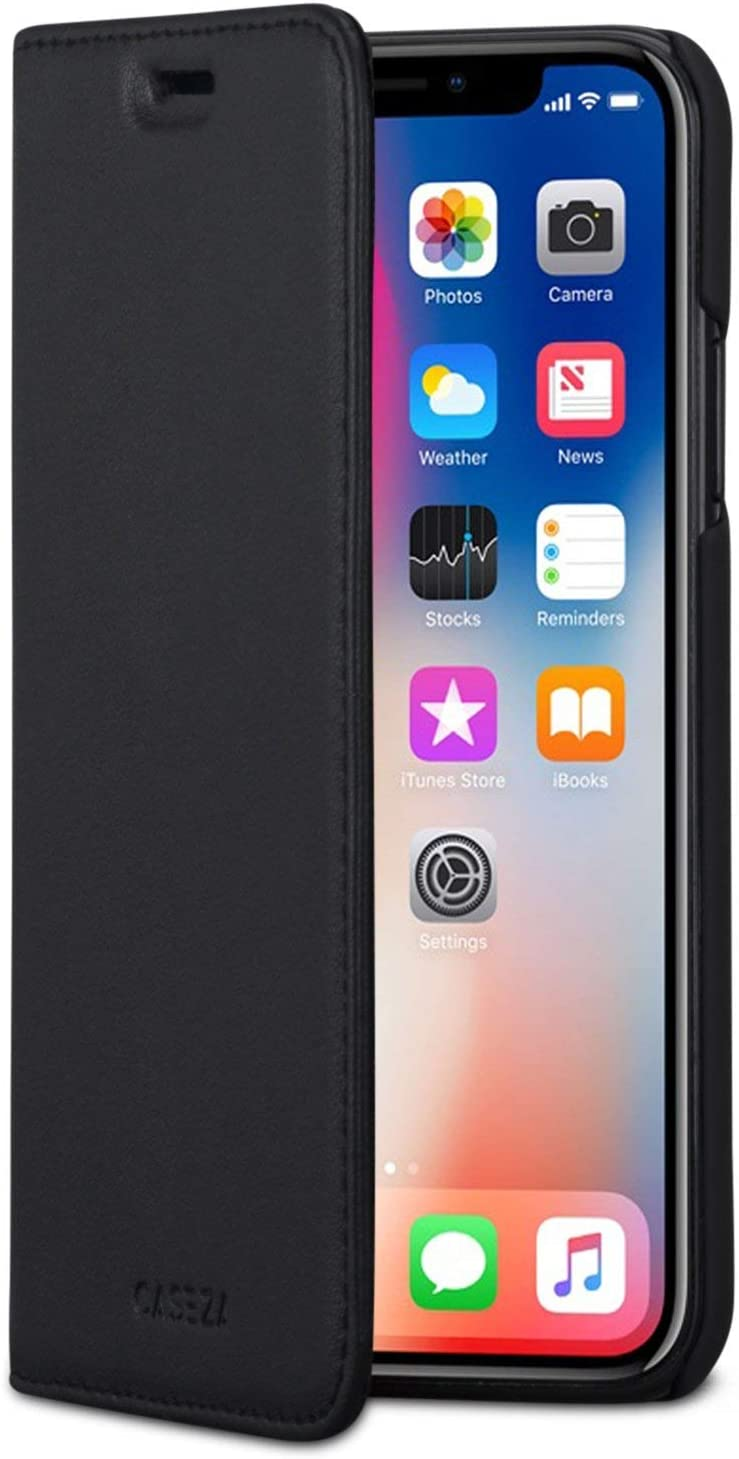 iPhone Xs Flip Case/iPhone X Flip Cover Black - CASEZA Oslo PU Leather Premium Vegan Leather Wallet Book Folio Cover for The Original iPhone Xs/X / 10S / 10 - Ultra Thin with Magnetic Closure