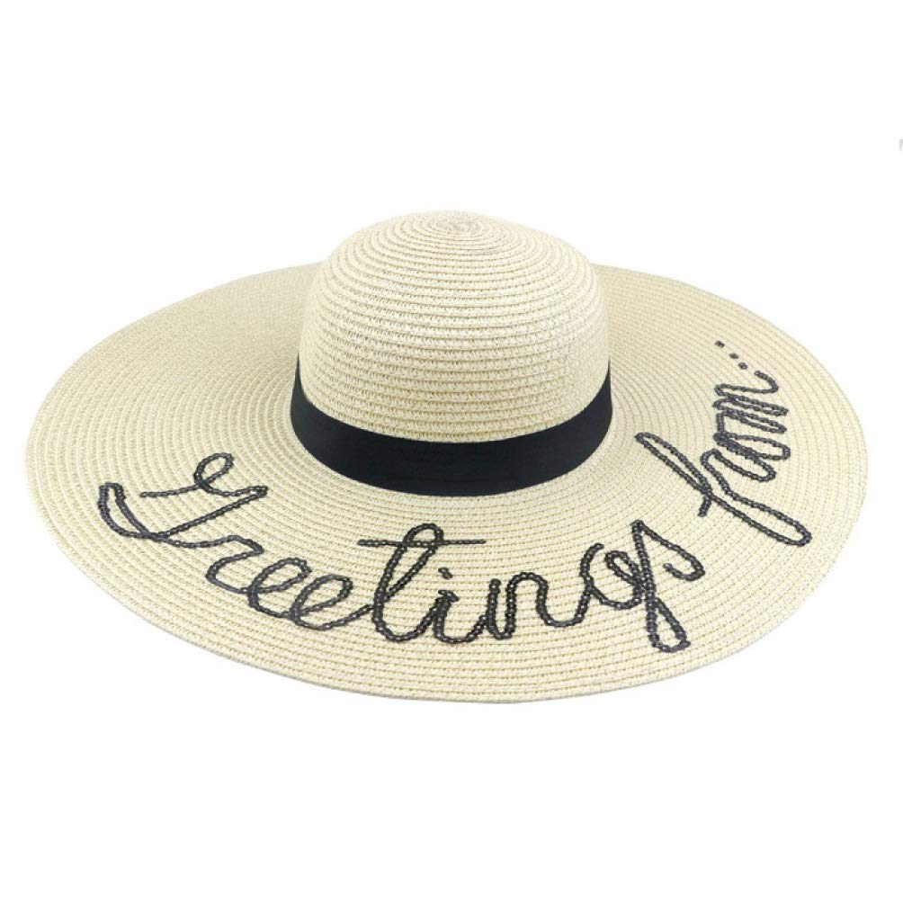 9b28df49a3ed9a Summer Women Sun Hat Ladies Wide Brim Straw Beach Hats Outdoor Foldable  Panama Church Cap Sun Visors Beige at Amazon Women's Clothing store:
