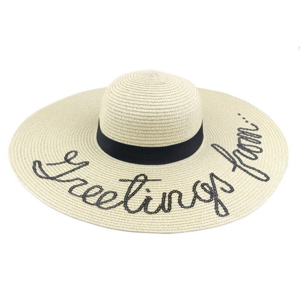 9b28df49a3ed9a Summer Women Sun Hat Ladies Wide Brim Straw Beach Hats Outdoor Foldable  Panama Church Cap Sun Visors Beige at Amazon Women's Clothing store: