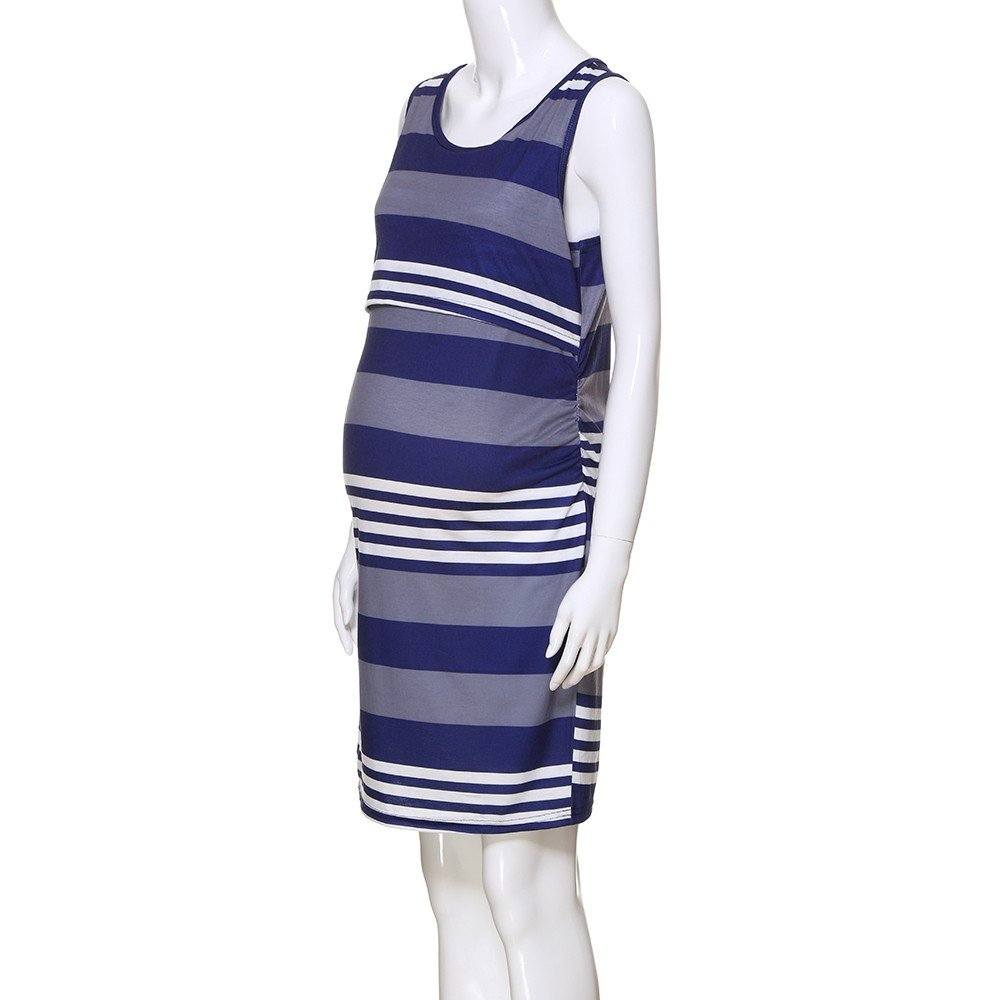 7ffb223a68383 Amazon.com: general3 Pregnant Women Breastfeeding Baby Striped Vest  Sleeveless Layering Clothes Pregnant Mother: Clothing