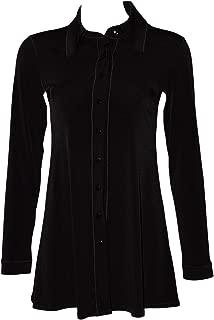 product image for Eva Varro Long Sleeve Shirt Collar Tunic Black