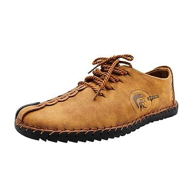 Yudesun Mocasines Zapatos Hombre - Negro Cuero Oxfords Zapatillas Cordones Zapato Negocio Vestir Espacio de Trabajo Cuero Partido Casual Bajos de Bandas ...