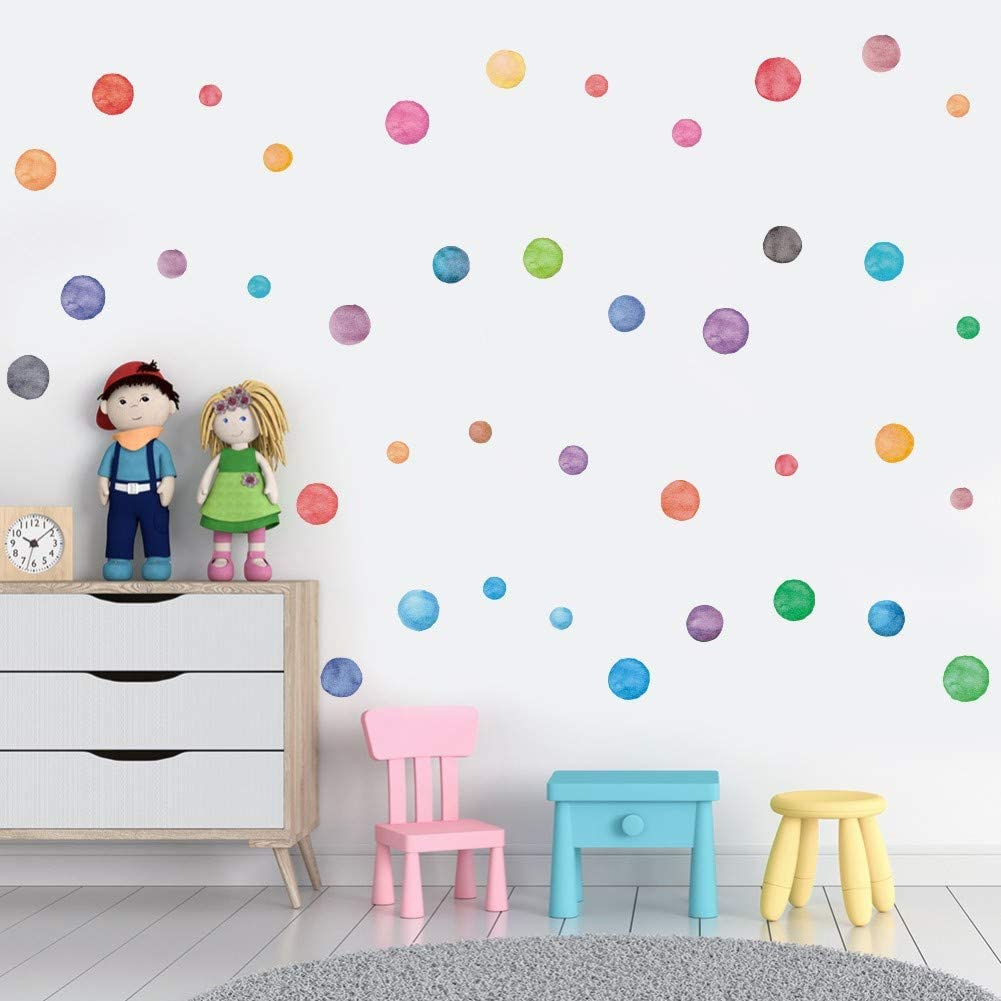 IARTTOP Watercolor Dot Decal 51pcs Multicolor Circle Window Clings Decoration ,Colorful Polka Dots Wall Sticker for Nursery Kids Bedroom Classroom Decor