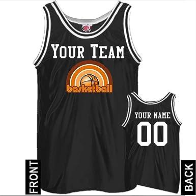 eba5055b1 Rainbow Logo Slim Fit Custom Basketball Jersey Adult Small in Black   White