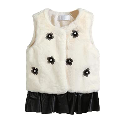 Lanhui Sunny Girls Flowers Faux Fur Waistcoat Thick Coat Splice Outwear Clothes