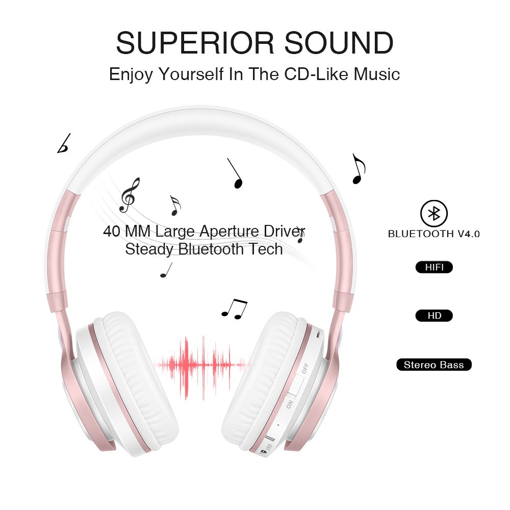 Wireless Headphones, HiFi Stereo Bluetooth Headphones with Mic, Lightweight Foldable Headset, Soft Protein Earmuffs, Support TF Card And FM Radio Wired Mode for PC Cellphone TV Girls Women (Rose Gold) by Picun (Image #2)