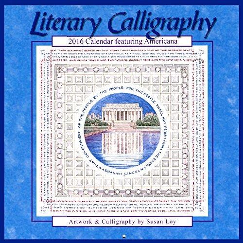 2016 Literary Calligraphy Calendar Featuring Americana