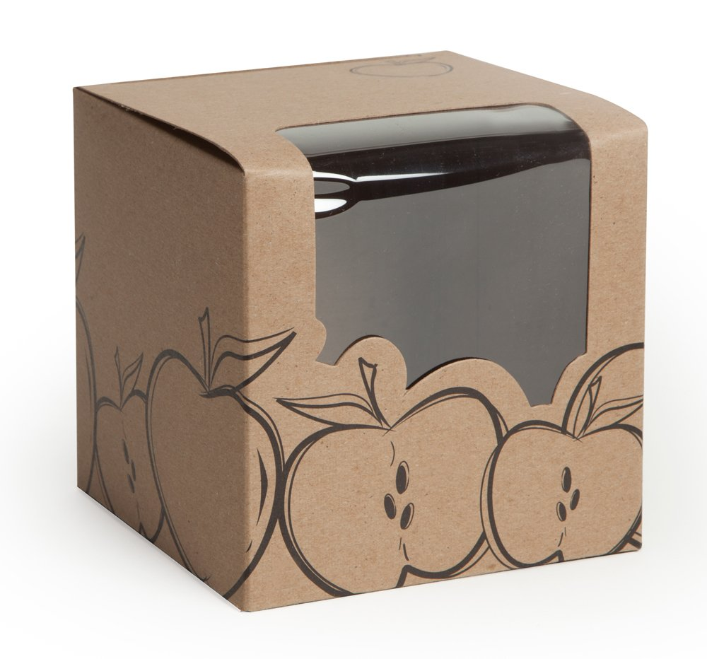 Candy or Caramel Apple Box - Beautiful Kraft Apple Design, 18pt Board, 4x4x4, Slit on Top of Box for Stick, Clear Front Window Wrapping to Top, 50 Containers, Ships Flat, Fits Standard Apples