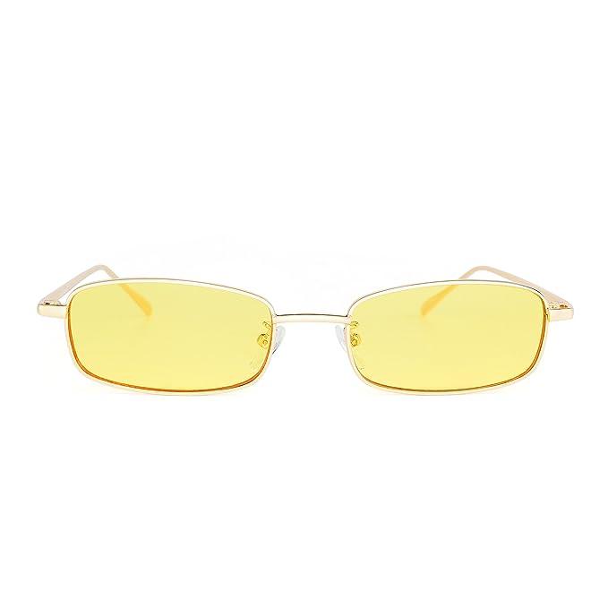 5019db32aa JIM HALO Gafas de Sol Teñido Lentes Claro Pequeño Delgado Rectangular Metal  Anteojos Mujer Hombre(