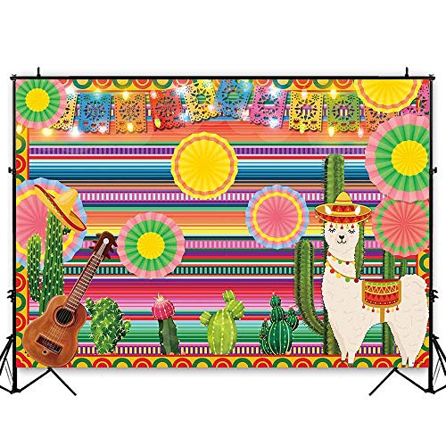 Funnytree 7x5ft Mexican Fiesta Theme Photography Backdrop Mexico Cactus Alpaca Party Background Cinco de Mayo Colorful Stripes Luau Carnival Banner Dress up Cake Table Decoration Photo Booth Props -
