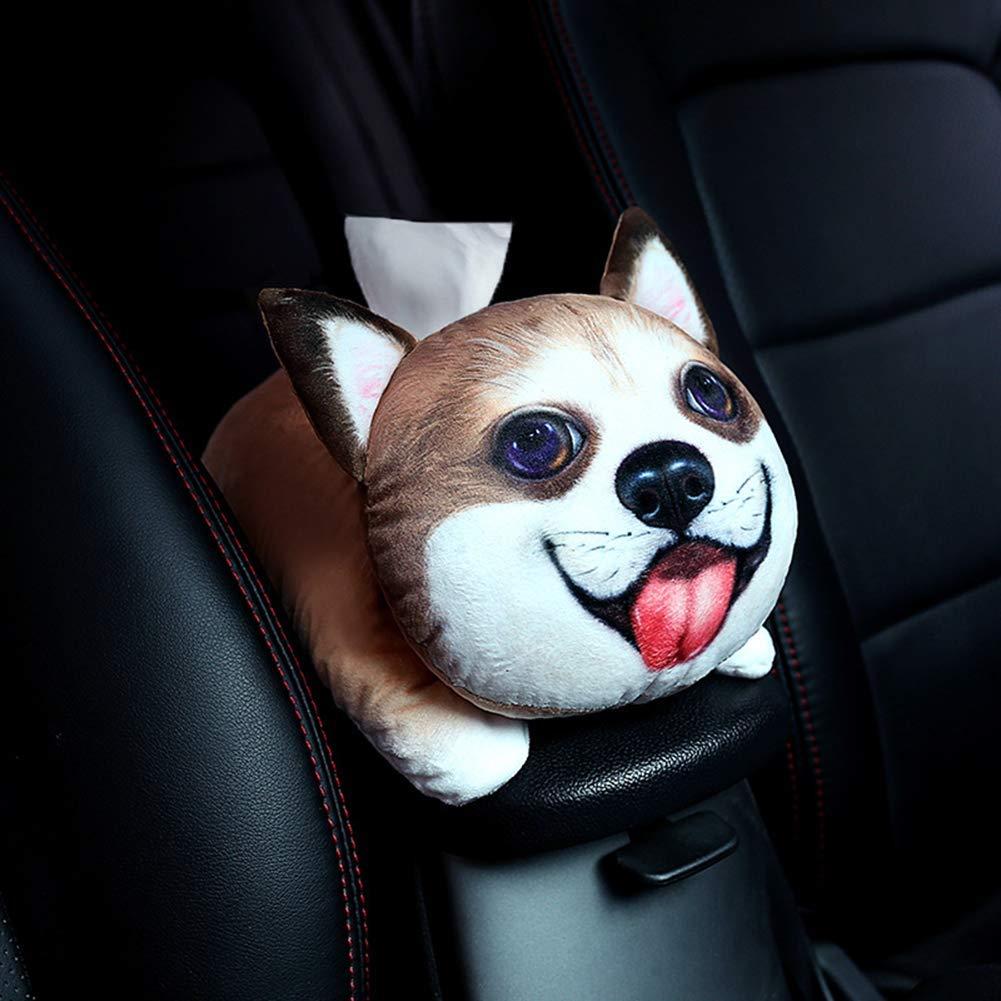 Pl/üschtier Taschentuch Box DUBENS Auto Armlehne Tissue Box Pl/üsch Cartoon Papier Handtuch Pumpen Cute Creative Pet Akita Hund