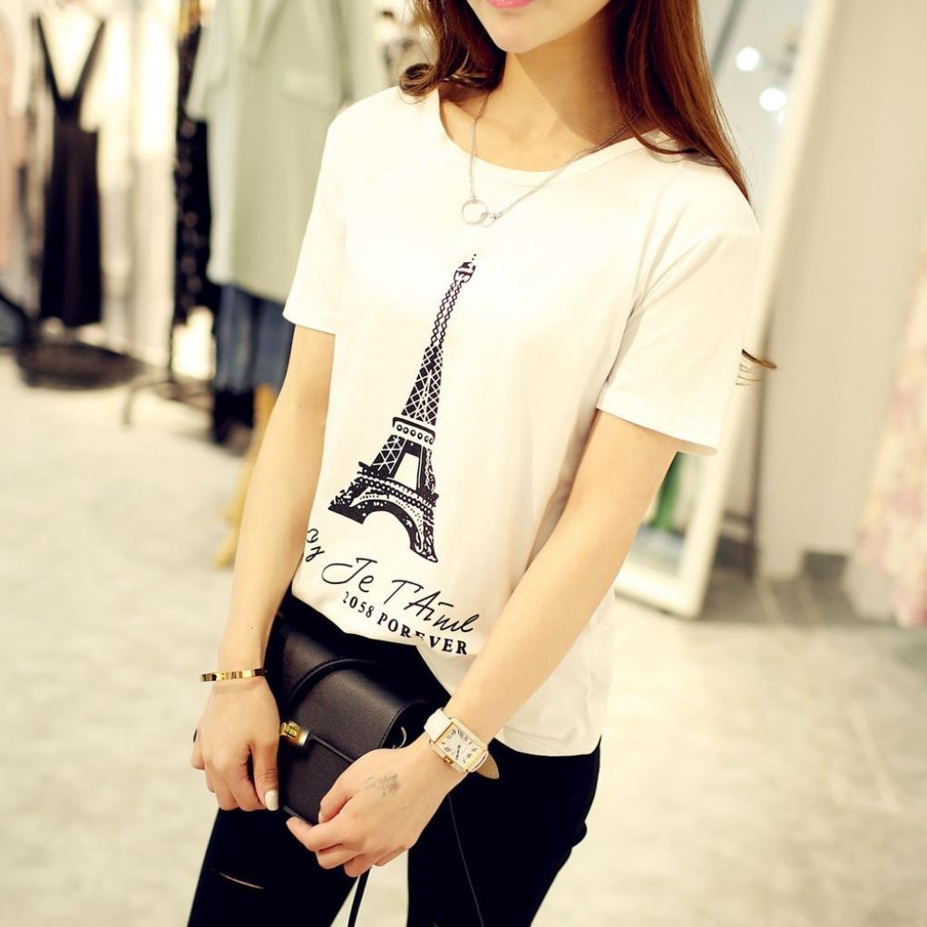 Teresamoon Tank Tops, Womens Tower Printing Short Sleeve T-Shirt Blouse at Amazon Womens Clothing store: