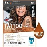 SKULLPAPER temporäre A4 Tattoo-Transferfolie FÜR DIE HAUT dermatologisch SEHR GUT getestet hautverträglich individuell zuschneidbar (A4-4 Blatt)