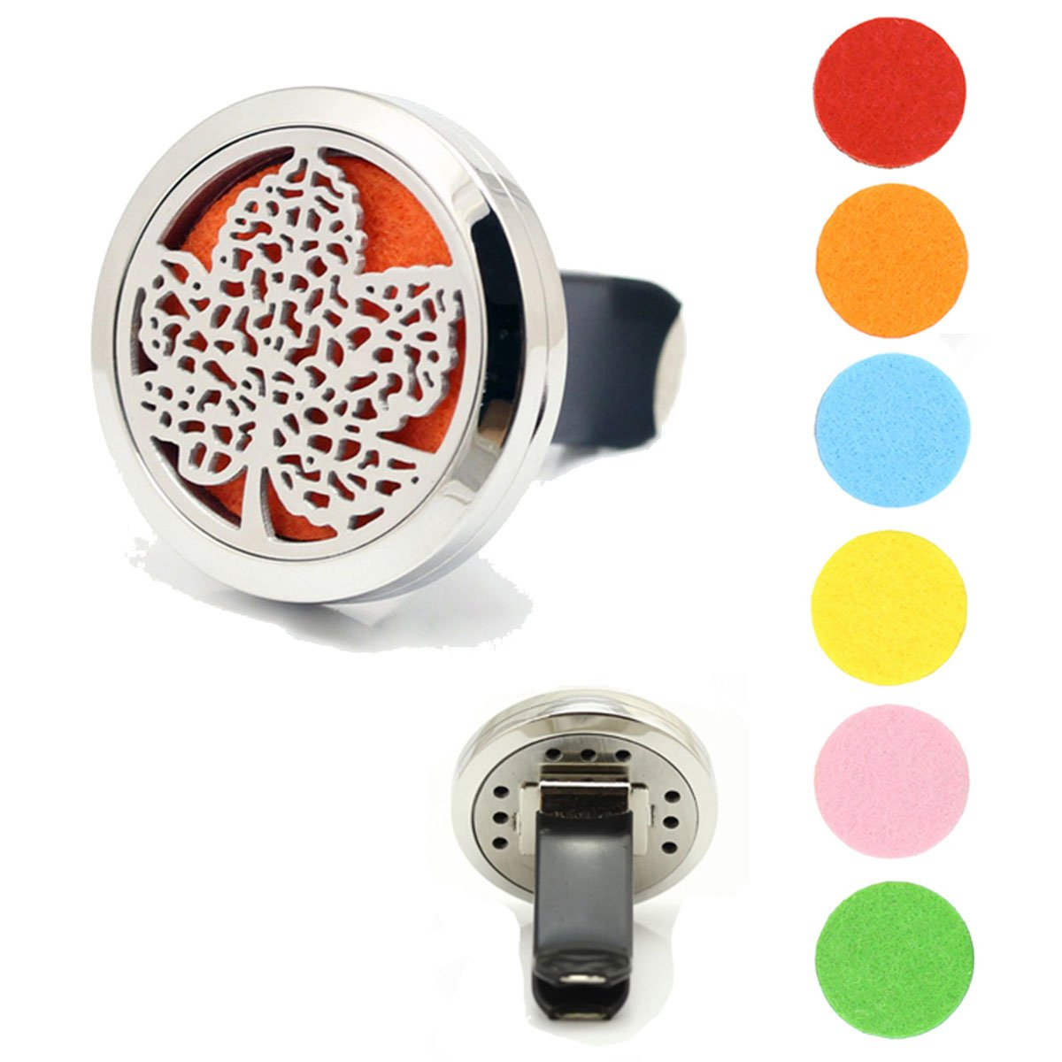 Car Air Freshener Aromatherapy Essential Oil Diffuser 30mm 316L Stainless Steel Locket With Vent Clip Car Diffuser