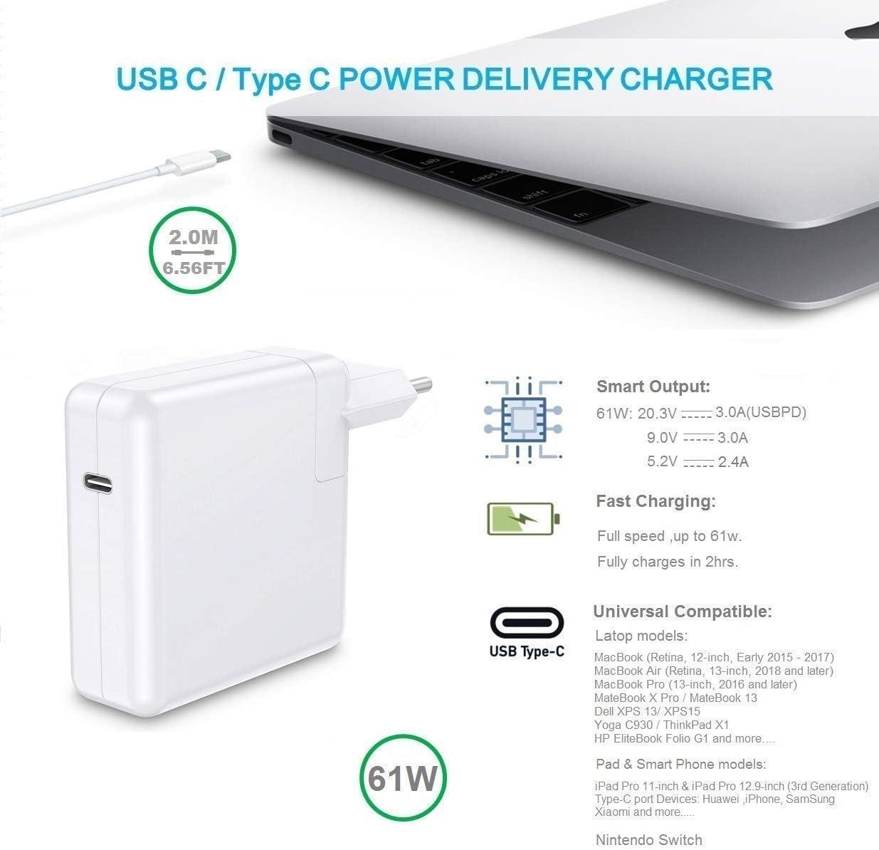 Cargador de Repuesto para MacBook Pro, 61 W USB-C a USB-C AC ...
