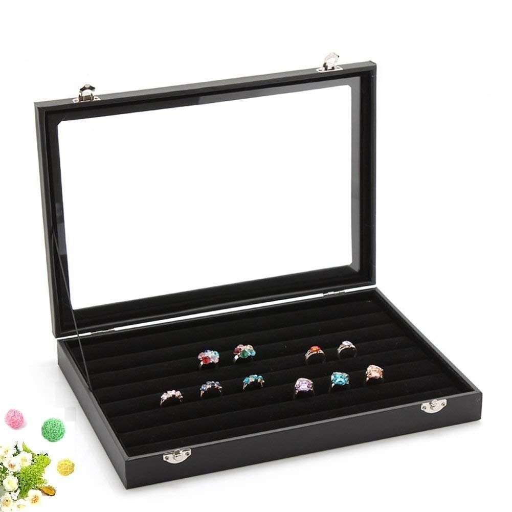 Ring Storage Velvet Displays Cases Necklace Organizer Tray Jewelry Box Showcase Glass Top Stackable Lid & Lock, Black (7 Slots) 35.5 x 24.5 x 5cm/14 x 10 x 2 inch Txyk
