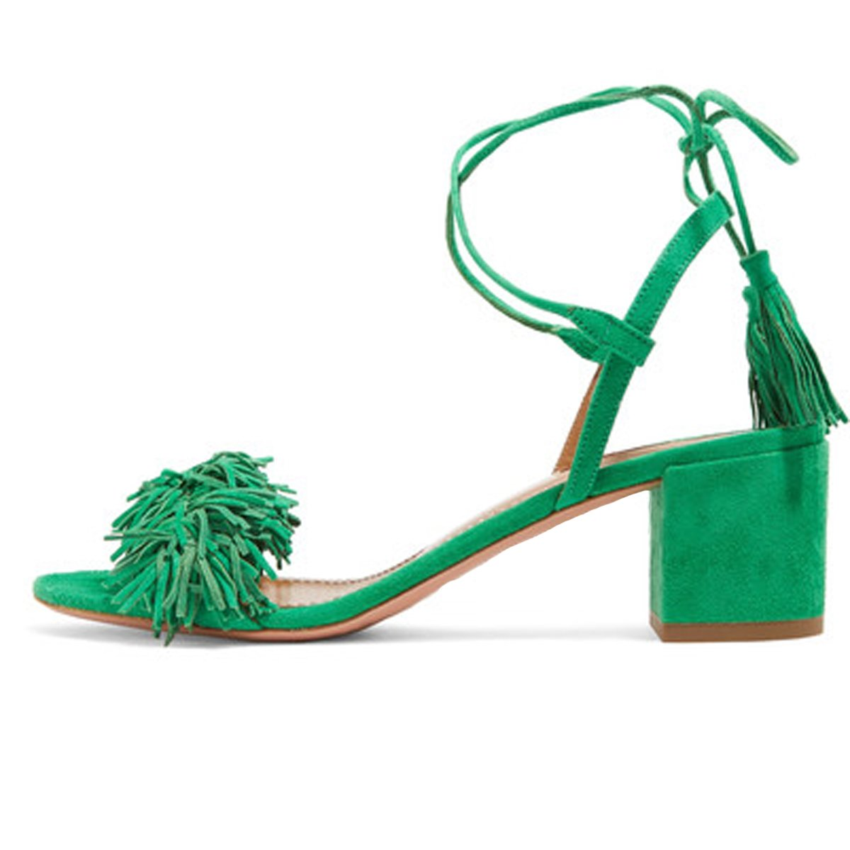 9d0bee8103 Comfity Block Heels for Women Women's Lace Up Sandals Fringed Tassel Shoes  Ankle Ties Dress Sandals 14 M US Green
