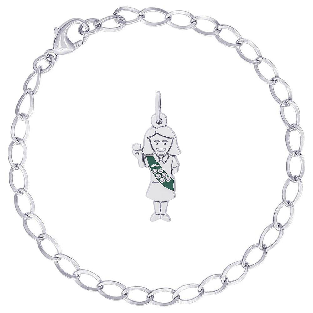 Rembrandt Charms Sterling Silver Enamel Painted Girl Scout Charm on a Curb Link Bracelet, 8'' by Rembrandt Charms