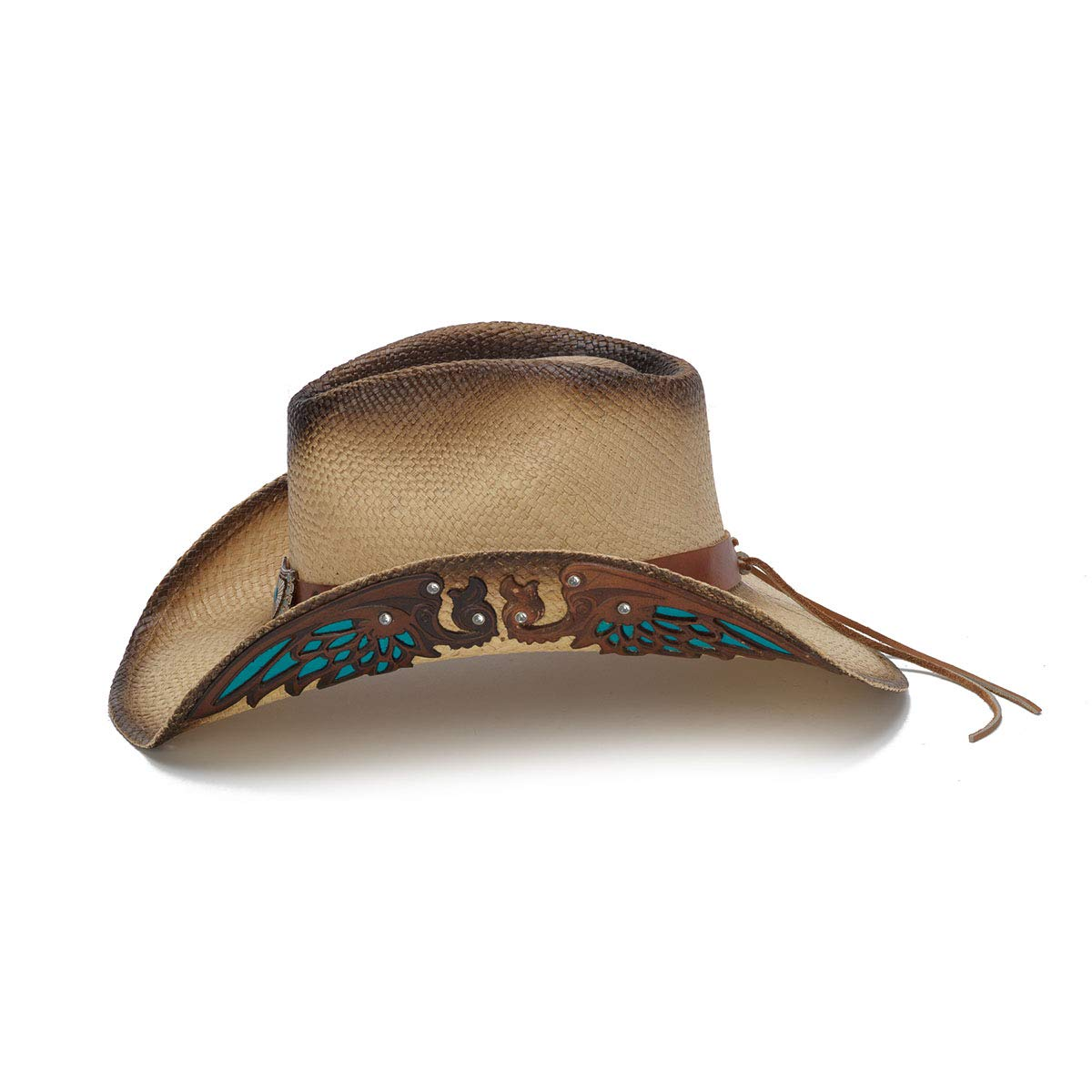Stampede Hats Women's Concho Turquoise Wings Rhinestone Western Hat XS Tea Stain by Stampede Hats (Image #3)