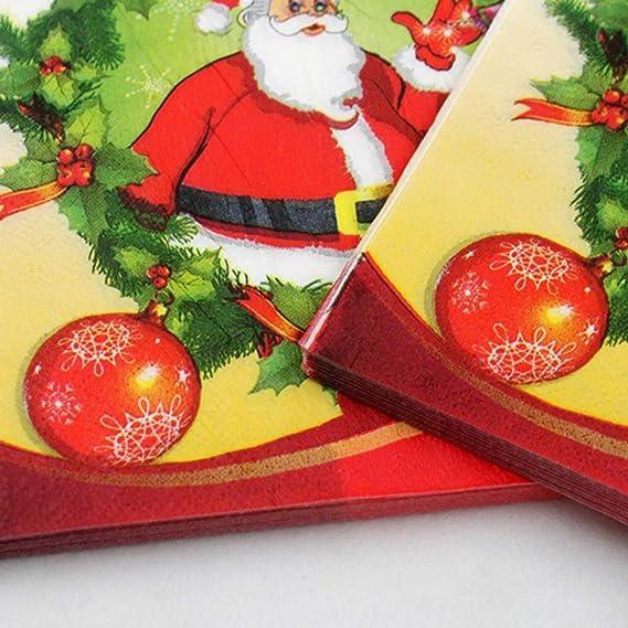 BESTOYARD Feliz Papá Noel Servilleta patrón de Navidad servilletas Impresas Suministros de la Fiesta de Navidad Toallas de Mano de Papel 100pcs: Amazon.es: ...