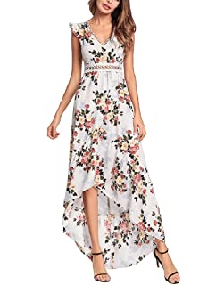 50fc6735439d Elegant Backless Floral Maxi Dress High Low Sexy Cocktail Party Dress